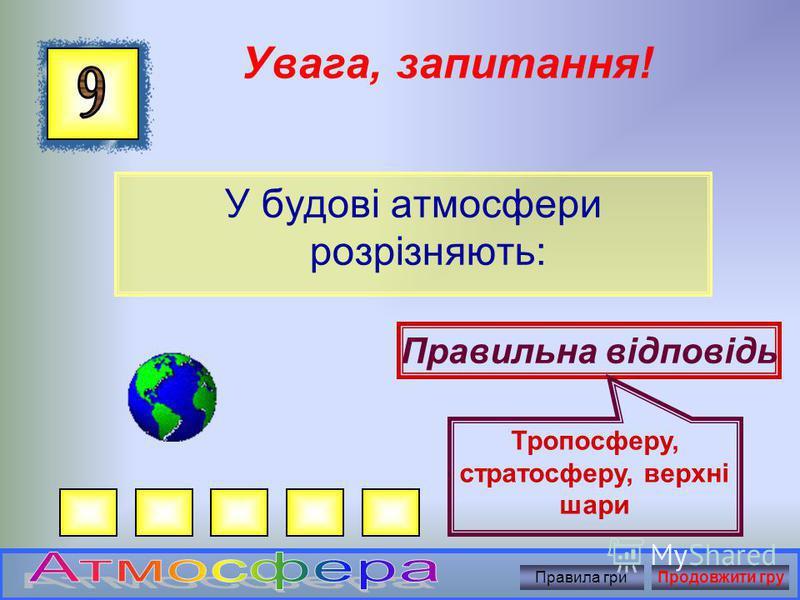 Увага, запитання! Як називається суміш газів, основними з яких є азот і кисень: Правильна відповідь Атмосферне повітря Правила гриПродовжити гру
