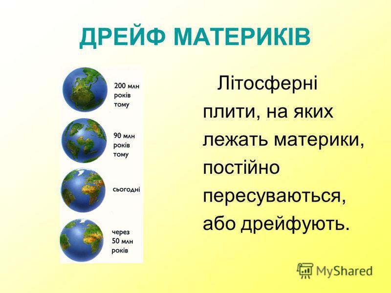 ДРЕЙФ МАТЕРИКІВ Літосферні плити, на яких лежать материки, постійно пересуваються, або дрейфують.