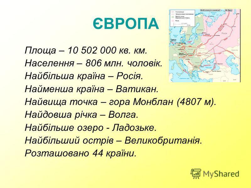 Площа – 10 502 000 кв. км. Населення – 806 млн. чоловік. Найбільша країна – Росія. Найменша країна – Ватикан. Найвища точка – гора Монблан (4807 м). Найдовша річка – Волга. Найбільше озеро - Ладозьке. Найбільший острів – Великобританія. Розташовано 4