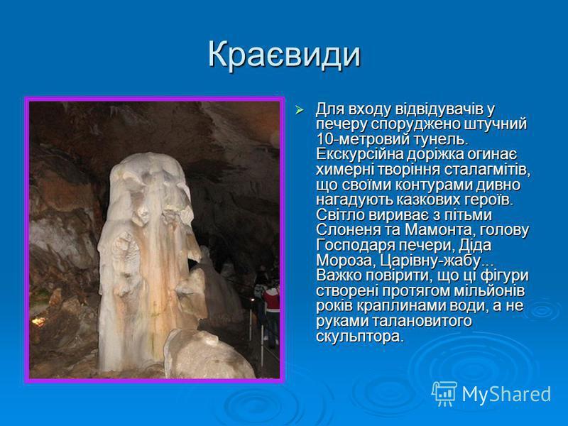 Краєвиди Для входу відвідувачів у печеру споруджено штучний 10-метровий тунель. Екскурсійна доріжка огинає химерні творіння сталагмітів, що своїми контурами дивно нагадують казкових героїв. Світло вириває з пітьми Слоненя та Мамонта, голову Господаря