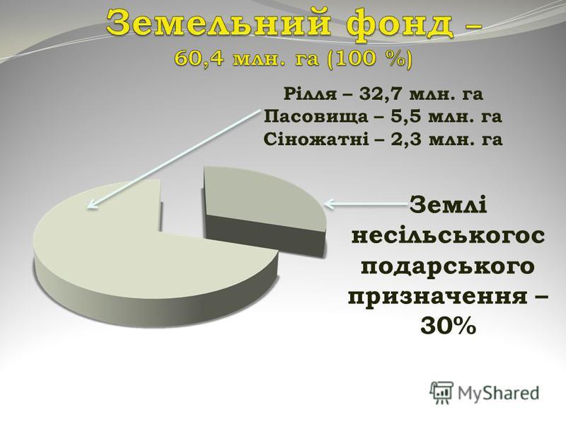 Землі несільськогос подарського призначення – 30% Рілля – 32,7 млн. га Пасовища – 5,5 млн. га Сіножатні – 2,3 млн. га