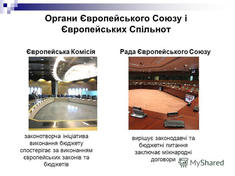 Органи Європейського Союзу і Європейських Спільнот Європейська Комісія Рада Європейського Союзу законотворча ініціатива виконання бюджету спостерігає за виконанням європейських законів та бюджетів вирішує законодавчі та бюджетні питання заключає міжн
