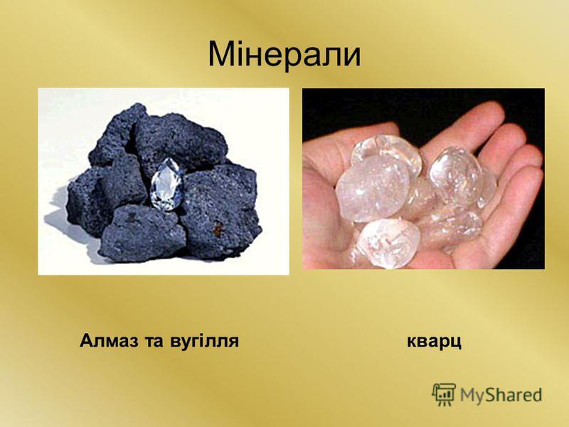 Мінерали Алмаз та вугіллякварц
