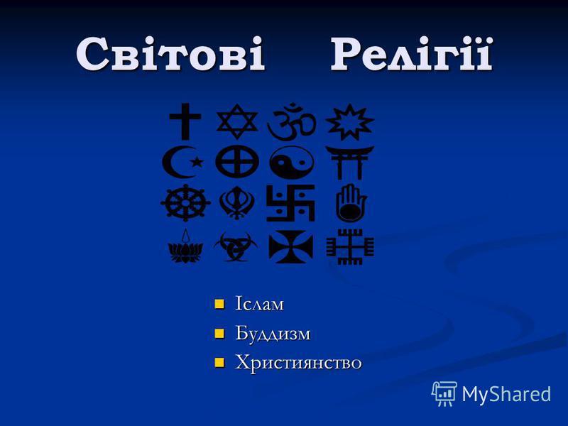 Світові Релігії Іслам Буддизм Християнство