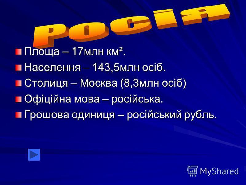 Площа – 17млн км². Населення – 143,5млн осіб. Столиця – Москва (8,3млн осіб) Офіційна мова – російська. Грошова одиниця – російський рубль.