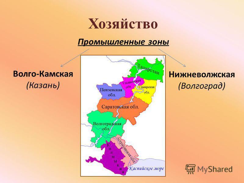 Хозяйство Промышленные зоны Волго-Камская (Казань) Нижневолжская (Волгоград)