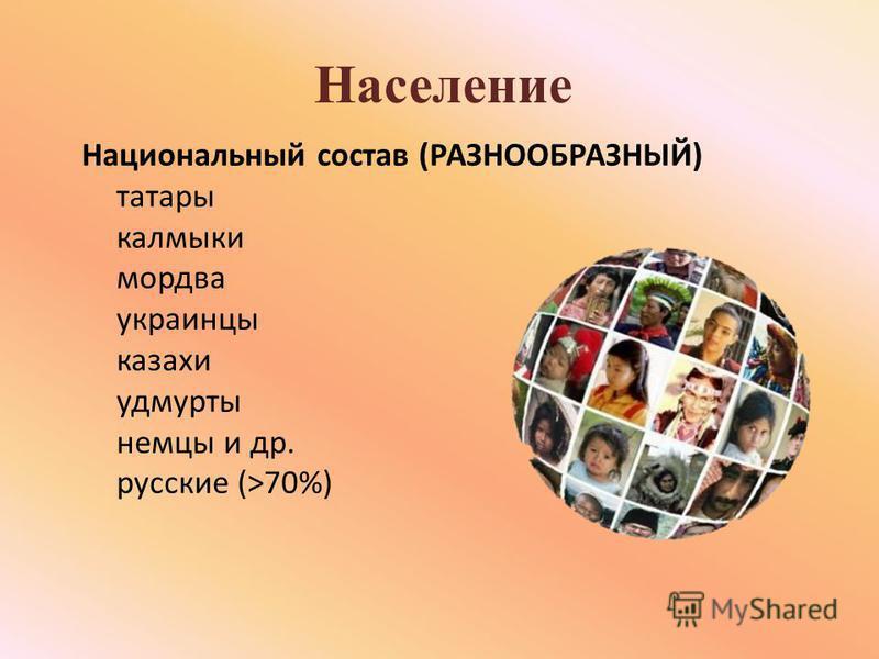 Население Национальный состав (РАЗНООБРАЗНЫЙ) татары калмыки мордва украинцы казахи удмурты немцы и др. русские (>70%)