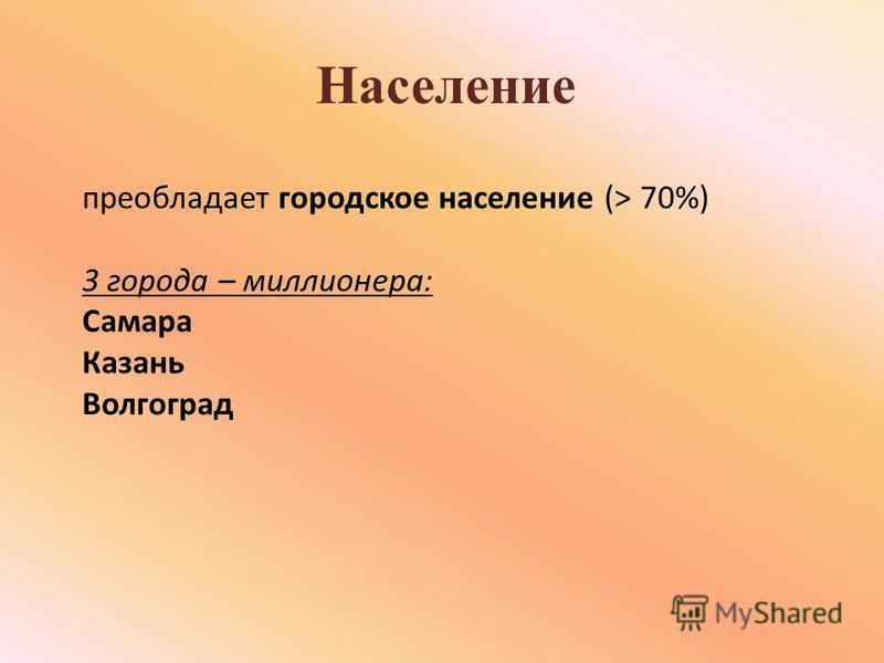 Население преобладает городское население (> 70%) 3 города – миллионера: Самара Казань Волгоград
