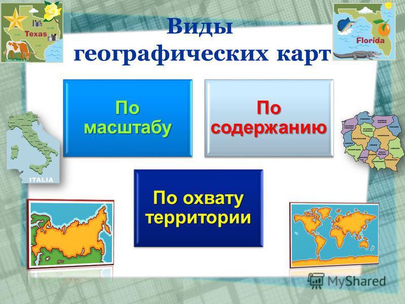 Виды географических карт По масштабу По содержанию По охвату территории