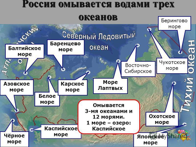 Россия омывается водами трех океанов Каспийское море Балтийское море Азовское море Чёрное море Белое море Баренцево море Карское море Море Лаптвых Восточно- Сибирское Чукотское море Берингово море Охотское море Японское море Омывается 3-мя океанами и