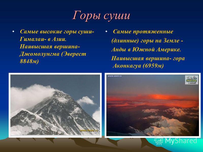 Горы суши Самые высокие горы суши- Гималаи- в Азии. Наивысшая вершина- Джомолунгма (Эверест 8848 м) Самые протяженные (длинные) горы на Земле - Анды в Южной Америке. Наивысшая вершина- гора Аконкагуа (6959 м)