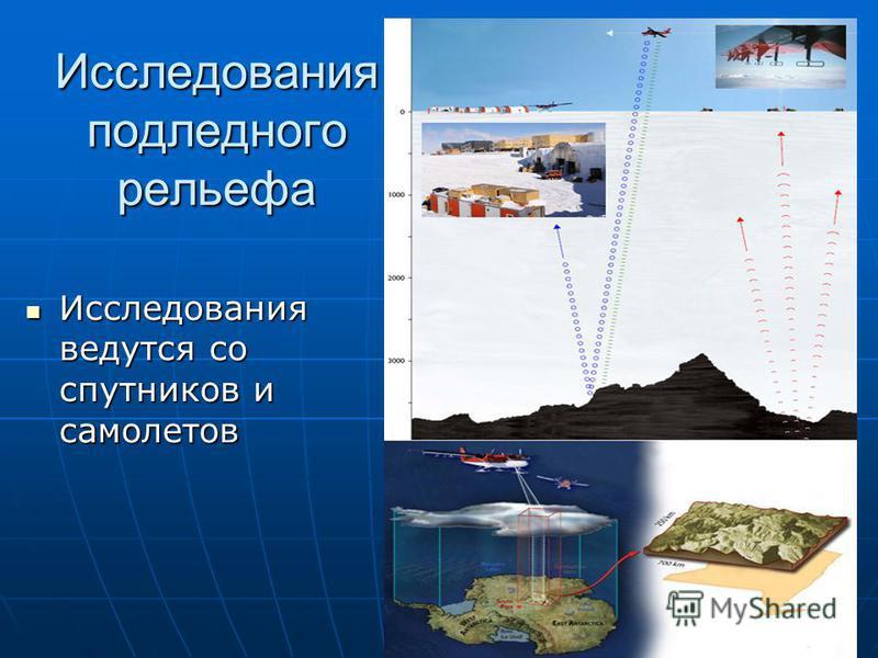 Исследования подледного рельефа Исследования ведутся со спутников и самолетов Исследования ведутся со спутников и самолетов