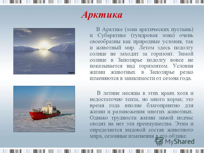 Арктика В Арктике (зона арктических пустынь) и Субарктике (тундровая зона) очень своеобразны как природные условия, так и животный мир. Летом здесь подолгу солнце не заходит за горизонт. Зимой солнце в Заполярье подолгу вовсе не показывается над гори