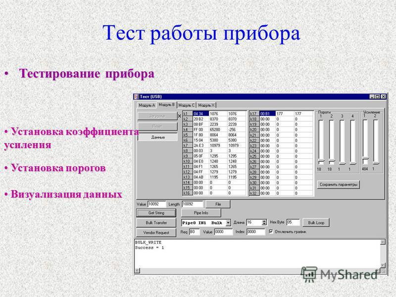 Тест работы прибора Тестирование прибора Тестирование прибора Установка коэффициента усиления Установка коэффициента усиления Установка порогов Установка порогов Визуализация данных Визуализация данных