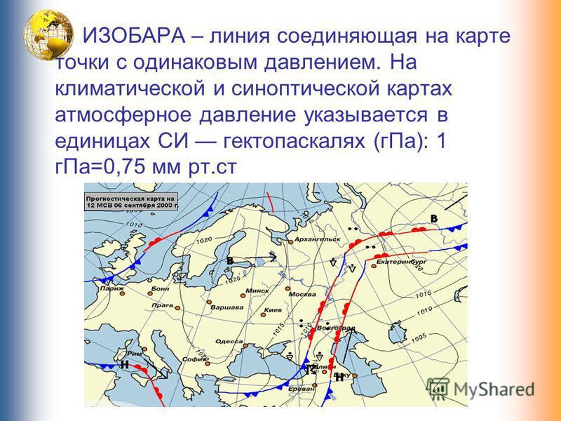 ИЗОБАРА – линия соединяющая на карте точки с одинаковым давлением. На климатической и синоптической картах атмосферное давление указывается в единицах СИ гектопаскалях (г Па): 1 г Па=0,75 мм рт.ст