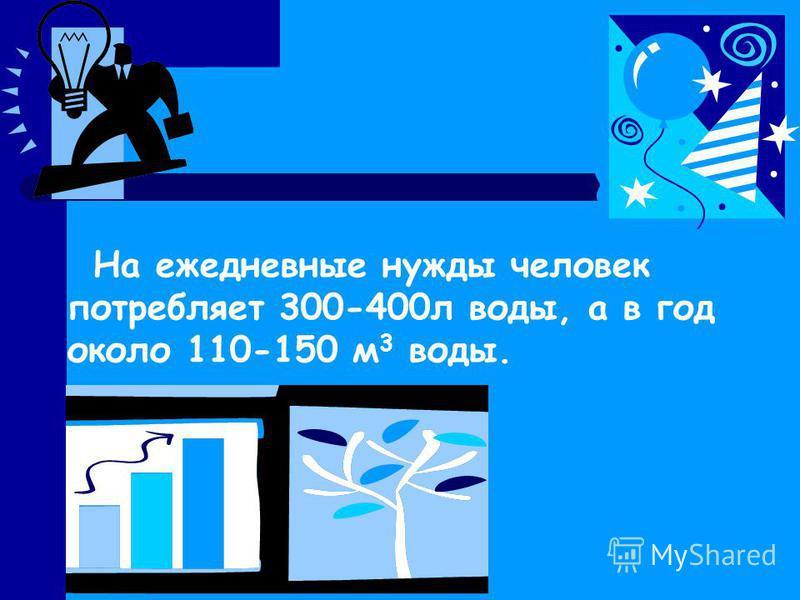 На ежедневные нужды человек потребляет 300-400 л воды, а в год около 110-150 м 3 воды.