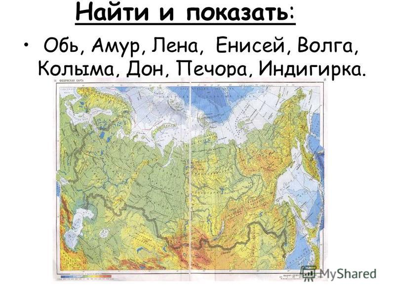 Найти и показать: Обь, Амур, Лена, Енисей, Волга, Колыма, Дон, Печора, Индигирка.