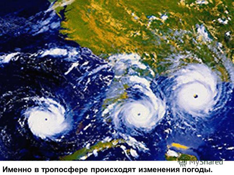 Именно в тропосфере происходят изменения погоды.