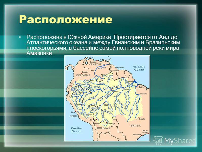 Расположение Расположена в Южной Америке. Простирается от Анд до Атлантического океана и между Гвианским и Бразильским плоскогорьями, в бассейне самой полноводной реки мира Амазонки.