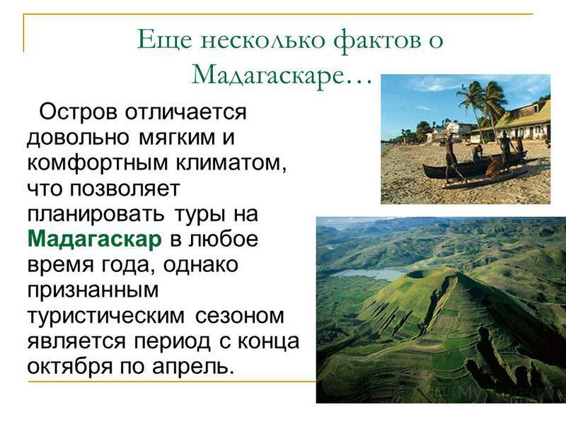 Еще несколько фактов о Мадагаскаре… Остров отличается довольно мягким и комфортным климатом, что позволяет планировать туры на Мадагаскар в любое время года, однако признанным туристическим сезоном является период с конца октября по апрель.