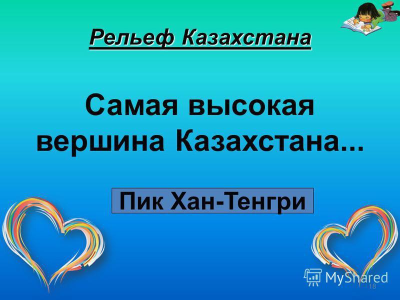 18 Рельеф Казахстана Самая высокая вершина Казахстана... Пик Хан-Тенгри