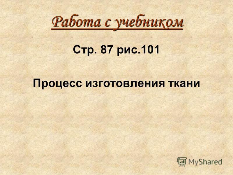 Работа с учебником Стр. 87 рис.101 Процесс изготовления ткани