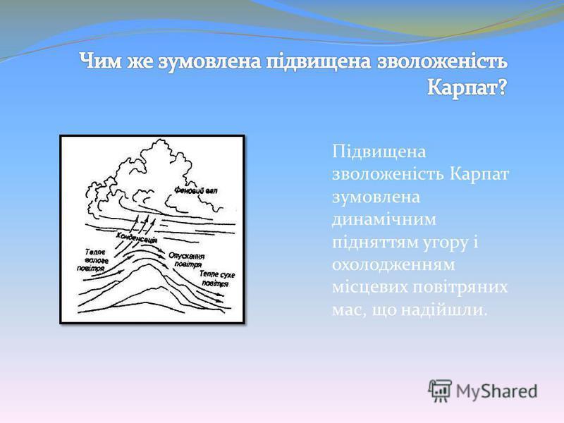 Підвищена зволоженість Карпат зумовлена динамічним підняттям угору і охолодженням місцевих повітряних мас, що надійшли.