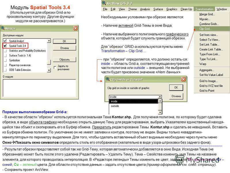 Модуль Spatial Tools 3.4 (Используется для обрезки Grid-а по произвольному контуру. Другие функции модуля не рассматриваются.) Необходимыми условиями при обрезке являются: - Наличие активной Grid-Темы в окне Вида; - Наличие выбранного полигонального