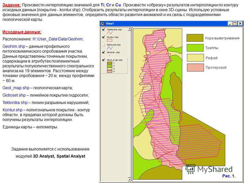 Задание выполняется с использованием модулей 3D Analyst, Spatial Analyst Задание: Произвести интерполяцию значений для Ti, Cr и Cu. Произвести «обрезку» результатов интерполяции по контуру исходных данных (покрытие - kontur.shp). Отобразить результат