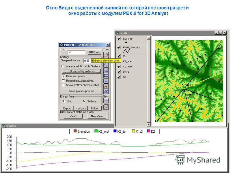 Окно Вида с выделенной линией по которой построен разрез и окно работы с модулем PE 6.0 for 3D Analyst
