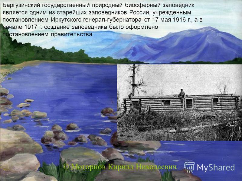 Баргузинский государственный природный биосферный заповедник является одним из старейших заповедников России, учрежденным постановлением Иркутского генерал-губернатора от 17 мая 1916 г., а в начале 1917 г. создание заповедника было оформлено постанов