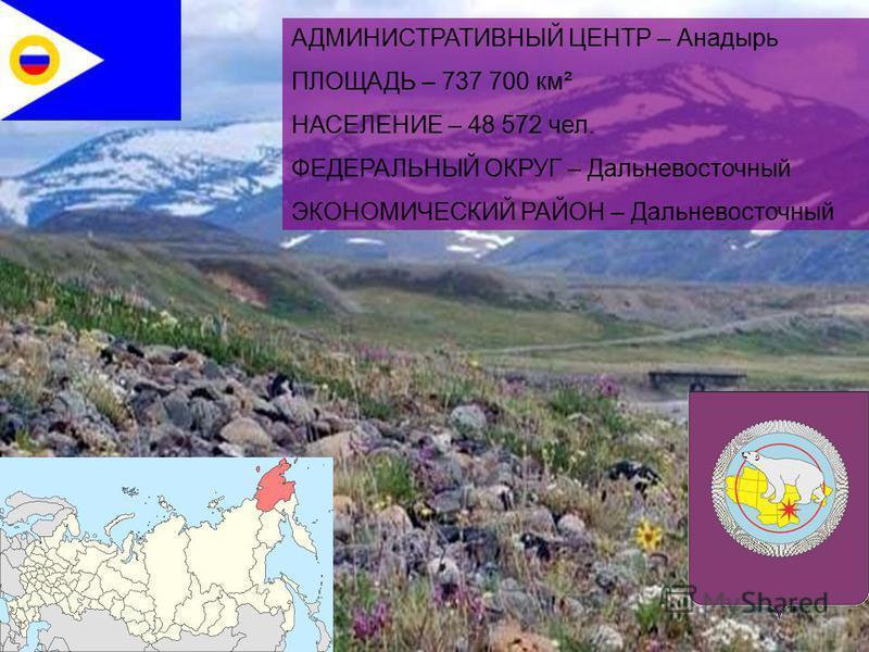 АДМИНИСТРАТИВНЫЙ ЦЕНТР – Анадырь ПЛОЩАДЬ – 737 700 км² НАСЕЛЕНИЕ – 48 572 чел. ФЕДЕРАЛЬНЫЙ ОКРУГ – Дальневосточный ЭКОНОМИЧЕСКИЙ РАЙОН – Дальневосточный