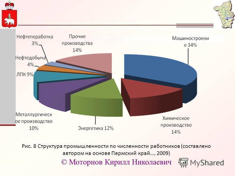 Рис. 8 Структура промышленности по численности работников (составлено автором на основе Пермский край…, 2009) © Моторнов Кирилл Николаевич