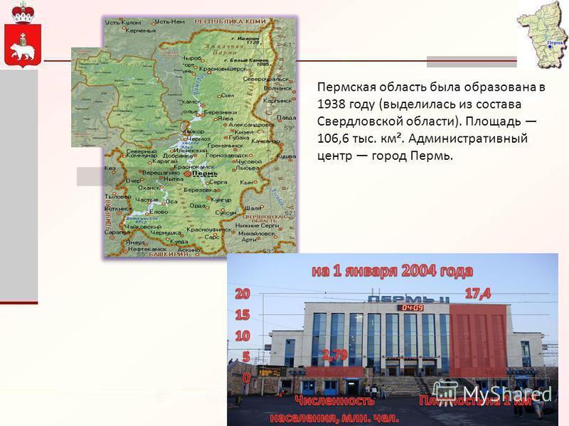 Пермская область была образована в 1938 году (выделилась из состава Свердловской области). Площадь 106,6 тыс. км ². Административный центр город Пермь.