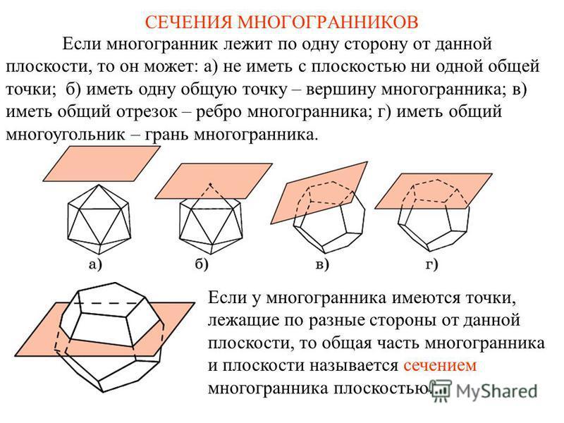 Если многогранник лежит по одну сторону от данной плоскости, то он может: а) не иметь с плоскостью ни одной общей точки; б) иметь одну общую точку – вершину многогранника; в) иметь общий отрезок – ребро многогранника; г) иметь общий многоугольник – г