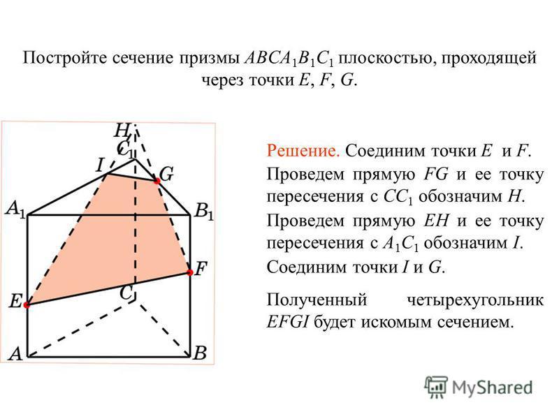 Постройте сечение призмы ABCA 1 B 1 C 1 плоскостью, проходящей через точки E, F, G. Решение. Соединим точки E и F. Проведем прямую FG и ее точку пересечения с CC 1 обозначим H. Проведем прямую EH и ее точку пересечения с A 1 C 1 обозначим I. Соединим