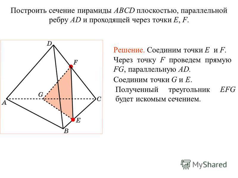 Построить сечение пирамиды ABCD плоскостью, параллельной ребру AD и проходящей через точки E, F. Решение. Соединим точки E и F. Через точку F проведем прямую FG, параллельную AD. Соединим точки G и E. Полученный треугольник EFG будет искомым сечением