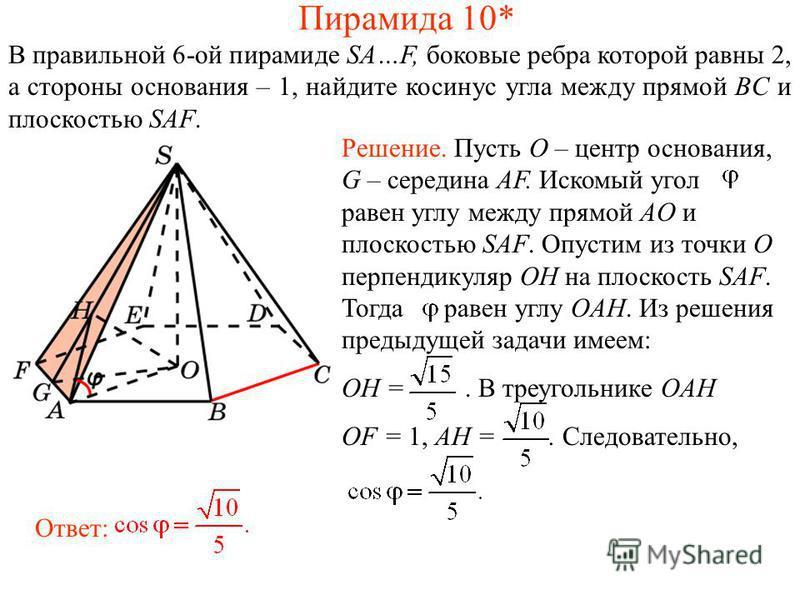 В правильной 6-ой пирамиде SA…F, боковые ребра которой равны 2, а стороны основания – 1, найдите косинус угла между прямой BC и плоскостью SAF. Ответ: Решение. Пусть O – центр основания, G – середина AF. Искомый угол равен углу между прямой AO и плос