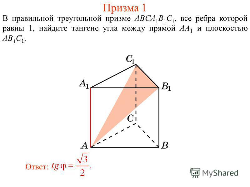 В правильной треугольной призме ABCA 1 B 1 C 1, все ребра которой равны 1, найдите тангенс угла между прямой AA 1 и плоскостью AB 1 C 1. Ответ: Призма 1