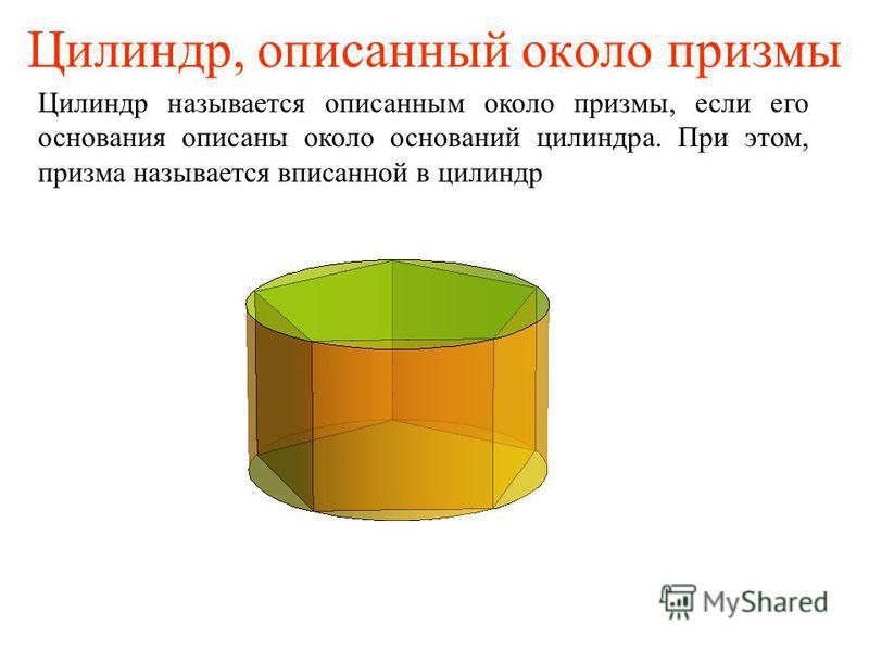Цилиндр, описанный около призмы Цилиндр называется описанным около призмы, если его основания описаны около оснований цилиндра. При этом, призма называется вписанной в цилиндр