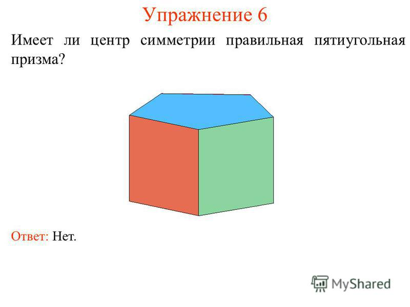 Упражнение 6 Имеет ли центр симметрии правильная пятиугольная призма? Ответ: Нет.