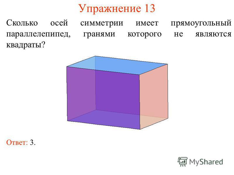 Упражнение 13 Сколько осей симметрии имеет прямоугольный параллелепипед, гранями которого не являются квадраты? Ответ: 3.