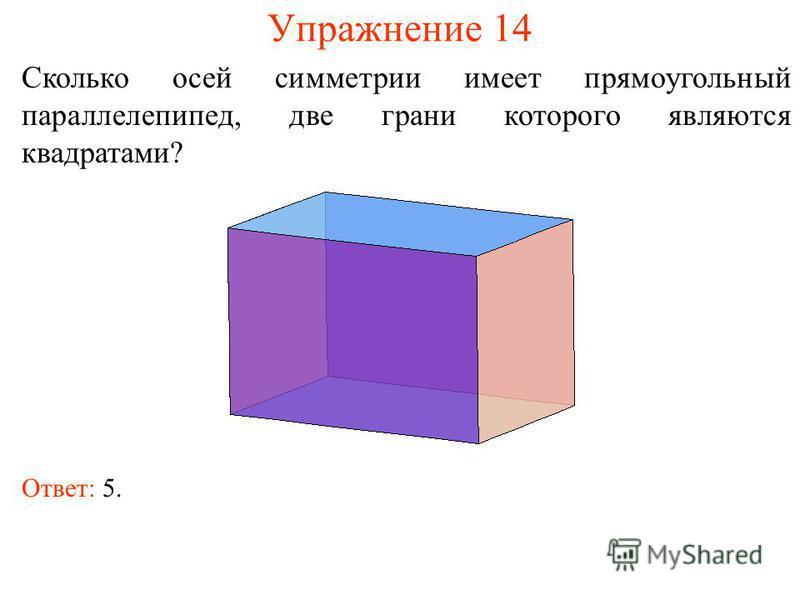 Упражнение 14 Сколько осей симметрии имеет прямоугольный параллелепипед, две грани которого являются квадратами? Ответ: 5.