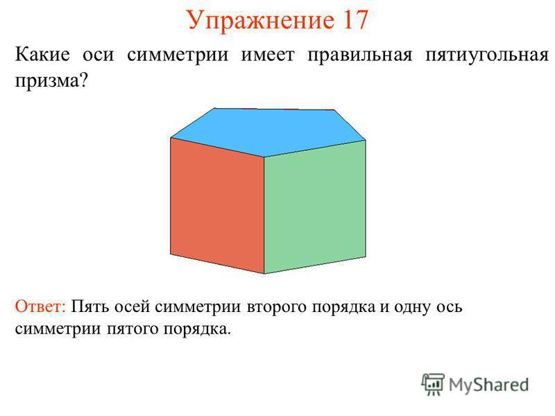 Упражнение 17 Какие оси симметрии имеет правильная пятиугольная призма? Ответ: Пять осей симметрии второго порядка и одну ось симметрии пятого порядка.