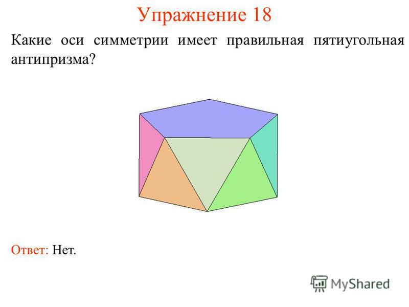 Упражнение 18 Какие оси симметрии имеет правильная пятиугольная антипризма? Ответ: Нет.