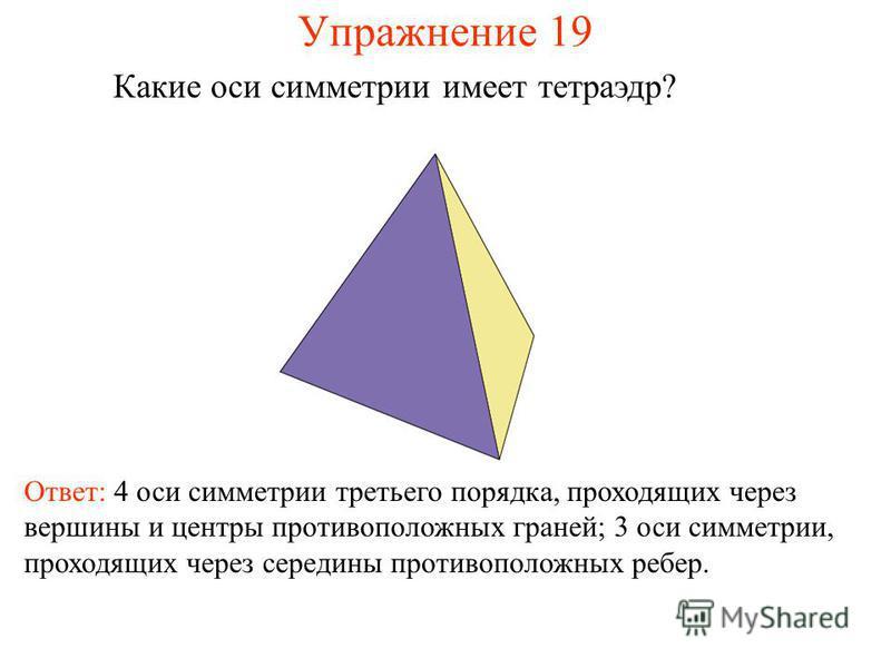 Упражнение 19 Какие оси симметрии имеет тетраэдр? Ответ: 4 оси симметрии третьего порядка, проходящих через вершины и центры противоположных граней; 3 оси симметрии, проходящих через середины противоположных ребер.