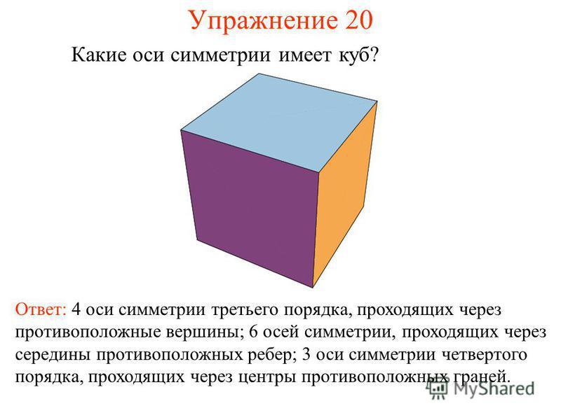 Упражнение 20 Какие оси симметрии имеет куб? Ответ: 4 оси симметрии третьего порядка, проходящих через противоположные вершины; 6 осей симметрии, проходящих через середины противоположных ребер; 3 оси симметрии четвертого порядка, проходящих через це