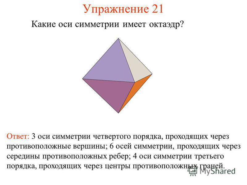 Упражнение 21 Какие оси симметрии имеет октаэдр? Ответ: 3 оси симметрии четвертого порядка, проходящих через противоположные вершины; 6 осей симметрии, проходящих через середины противоположных ребер; 4 оси симметрии третьего порядка, проходящих чере