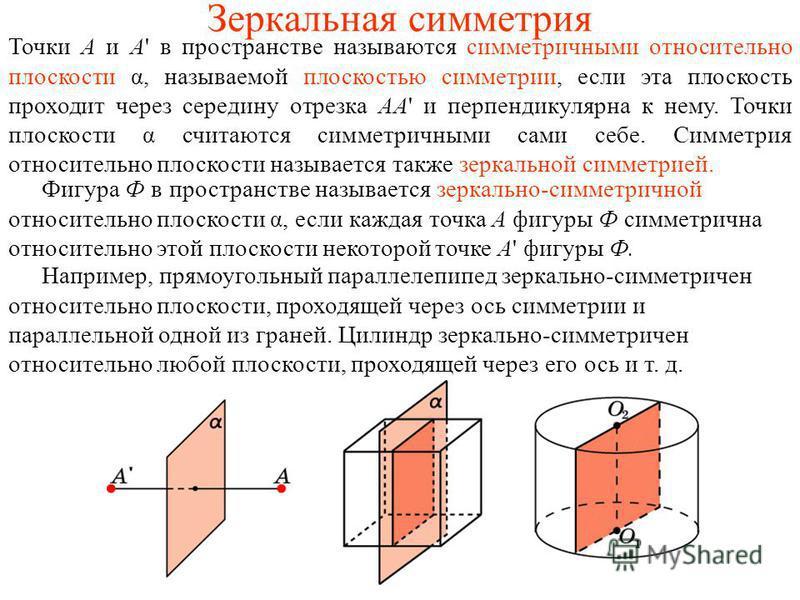 Зеркальная симметрия Точки A и A' в пространстве называются симметричными относительно плоскости α, называемой плоскостью симметрии, если эта плоскость проходит через середину отрезка AA' и перпендикулярна к нему. Точки плоскости α считаются симметри