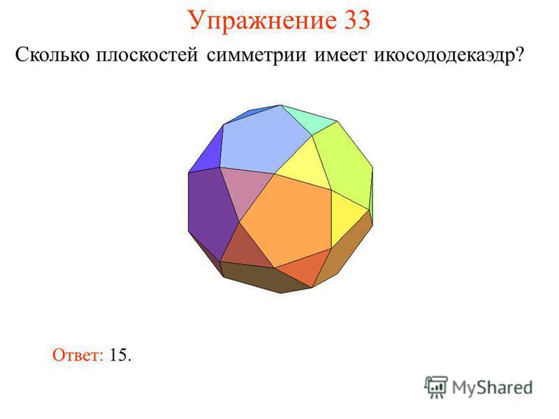 Упражнение 33 Сколько плоскостей симметрии имеет икосододекаэдр? Ответ: 15.